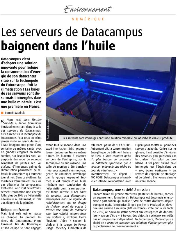 Article au sujet de Datacampus dans la magazine 7 à Poitiers.